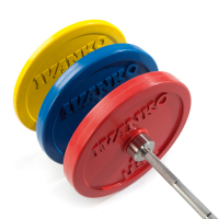 Rubber Encased Colored Weightlifting Olympic Bumper Plate Red 25 Lbs.
